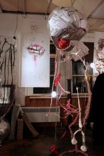 YO BAMBINO, plastic, wire, paper, cloth, plaster, 6'x2'x2' installation view