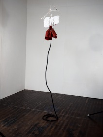 NOBODIES WALLFLOWER, wire, plaster, bells, paper, rubber 10'x1'x1'
