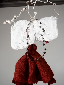 OLYMPUS NOBODIES WALLFLOWER, wire, plaster, bells, paper, rubber 10'x1'x1'