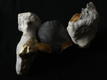 """BUDDIES ceramic, lead, gold leaf, 12""""x18""""x12"""""""
